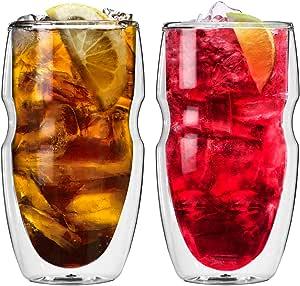 Ozeri Serafino Double Wall Insulated Iced Tea and Coffee Glasses, 16-Ounce, Set of 2