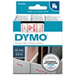 DYMO 达美 标签机色带45015 12mm白底红字D1不干胶标签纸