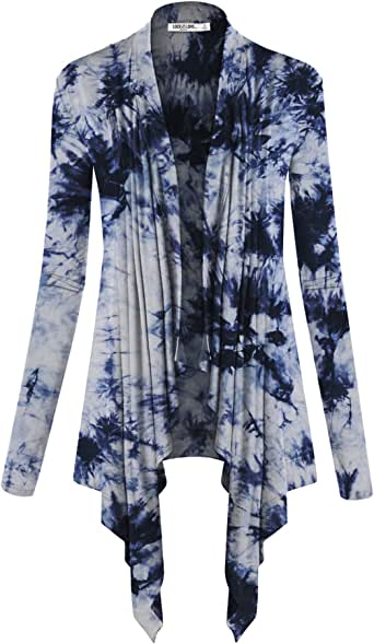 Lock and Love LL Womens Long Sleeve Draped Open Front Cardigan Wsk1072_white_navy XX-Large