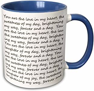 3drose PS 灵感 — FOREVER and A DAY LOVE POEM P sanders–马克杯 蓝/白 11 oz