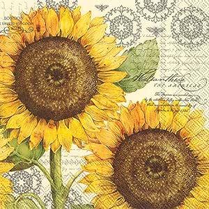 """Boston International IHR 纸质鸡尾酒餐巾(20 片) Botanical Sunflower Cream 5 x 5"""" C777960"""