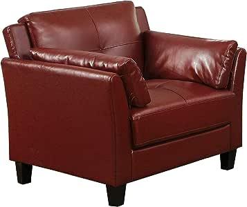 Benjara 人造革软垫椅子带弯曲扶手和缝合细节人造革软垫椅子带弯曲扶手和缝合细节