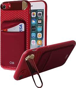 iPhone 8 Plus 钱包式手机壳,口袋卡夹【金属支架】【iPhone 7 Plus/iPhone 8 Plus 蜂窝散热 iPhone 7/8 红色