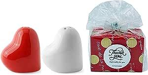 盐和胡椒调味罐 2 件套唇胡子陶瓷礼物 Red & Balck 43208-946