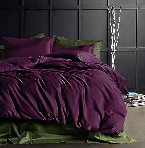 纯色埃及棉羽绒被套 奢华床上用品 高支 长绒棉缎 丝滑 柔软透气 比马 优质床上用品 深紫红色 King unknown