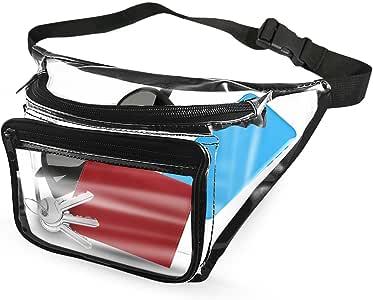 EliteBags 透明腰包 带拉链口袋和腰带,透明乙烯基袋,非常适合用作体育场*袋,男女皆宜
