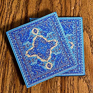 Logos 土耳其地毯杯垫套装 - 蓝色(2 件装)