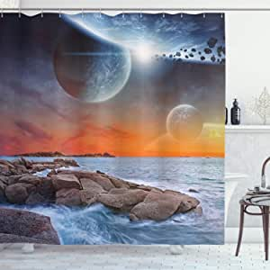 Science Room Decor Shower Curtain Set By Ambesonne, Planet Landscape View From A Beautiful Beach, Bathroom Accessories, 84 Inches Extralong
