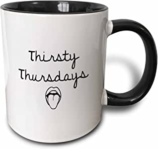 TORY ANNE 系列引言–thirsty thursdays ,黑色文字在白色背景–马克杯 黑色/白色 11 oz