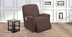 蓝宝石家居沙发套套装,适*为沙发双人沙发扶手椅,贴合弹力,不起皱,耐用,3/2/1 靠垫家具保护套,涤纶氨纶,格子图案,纯色 Coffee/Brown 1pc (Recliner Cover)