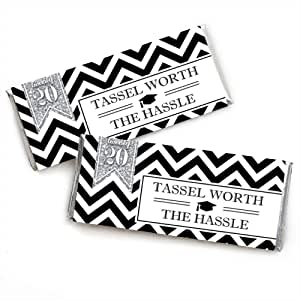 Silver Tassel Worth The Hassle - Candy Bar Wrappers 2018 Graduation Party Favors - Set of 24