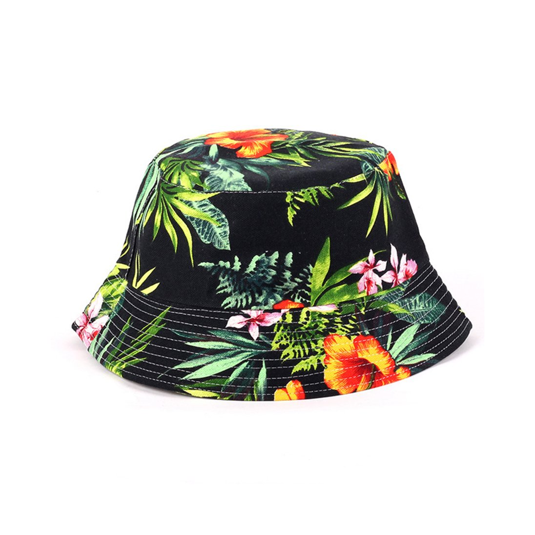 Eohak 渔夫帽黑色花卉印花  夏季女式男式渔夫帽可折叠渔夫帽