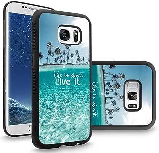 三星 S8 手机壳定制黑色软橡胶 TPU 手机壳适用于 Galaxy S8 手机壳黑色夜天空 - 树周围的河流4334992936 OOCASE-3