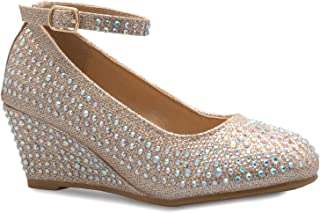 OLIVIA K 女士踝带细跟鞋? 可爱的低块金属鞋跟