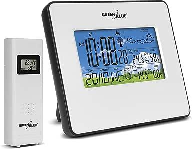 GreenBlue GB147 电波 气象钟 带外传感器 闹钟功能 天气预测 温度 日期 湿度 月相 DCF趋势显示 白色