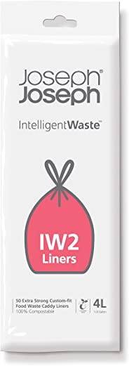 Joseph Joseph Intelligent Waste Food Waste Can Liners (50 Pack), 1 gallon, Clear