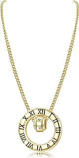 Sllaiss 925 纯银 14K 镀金罗马数字项链套装带施华洛世奇水晶圆形项链周年纪念首饰