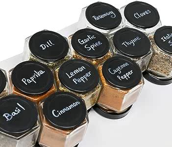 强磁性香料罐玻璃空瓶,80 毫升小香料罐,带可重写标签 透明的 12 Bottles with Board