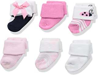 Luvable Friends 婴儿新生儿毛巾袜子6件装