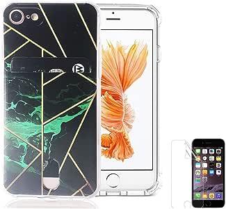 Oddss 手机壳适用于 iPhone 8/7(4.7 英寸)带卡夹超薄柔软 TPU 透明手机壳,适用于 iPhone 8/7 带屏幕保护膜的 iPhone 8/7 黑色*大理石