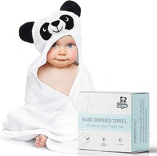 Organic Bamboo 连帽婴儿毛巾,柔软吸水,大号 88.9 X 88.9 cm *和低*婴儿浴巾,奇妙的 3D 熊猫设计—适合男孩或女孩的宝宝派对礼物