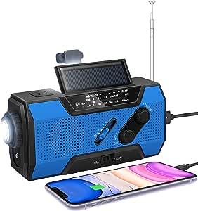 应急太阳能手动曲柄收音机NOAA天气收音机AM/FM2000mAh移动电源SOS报警LED手电筒阅读灯适用于家用户外飓风暴