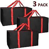 Jalousie 3 件装超大重型储物袋移动袋手提袋储物箱空间节约旅行行李袋 - 由坚固的 600D 牛津布制成 Black-red 3 Pack 30 in x 14 in x 15.5 IN
