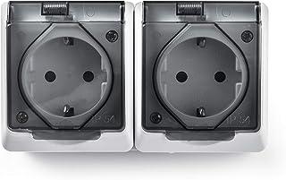 Famatel 5125,双插座,外部防水表面,白色,15 x 8.5 x 5厘米