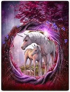 """毛毯羊毛毯抱毯 适用于沙发床 独角兽 马 神奇动物 玫瑰 红树 紫色 60"""" x 80"""""""