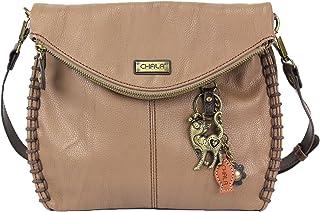 chala 迷人斜挎包带拉链 Flap 上衣和金属链条–浅棕色 Slim Cat
