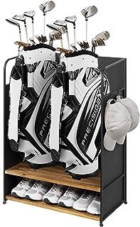 MyGift 豪华哑光黑色金属和乡村风烧木高尔夫收纳包适用于 2 个高尔夫球袋、鞋子、设备、帽子和毛巾挂钩