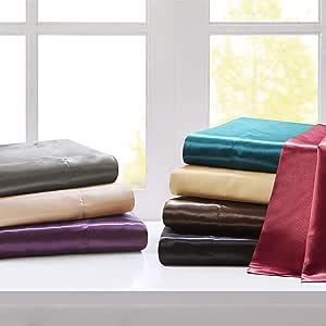 Madison Park Satin 防皱奢华 6 件套床单套装 巧克力色 加州King size SHET20-508