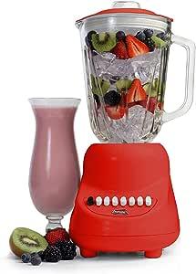 MaxiMatic EBL-2000GR Elite Gourmet 10-Speed Blender with 48-Ounce Glass Jar, 450-watt, Red