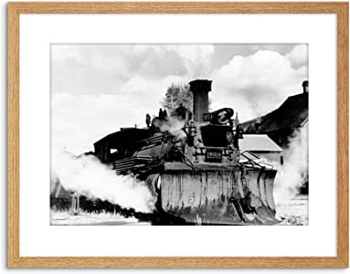 PHOTO B&W TRAIN LOCOMOTIVE SNOWPLOW 科罗拉多框印画 F97X7566 浅橡木 9 x 7 inc - 23 x 18 cm F97X7566_Light Oak