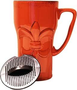Tuscany Fleur de Lis 手绘陶瓷旅行杯 1 件 6-1/4 英寸高 Burnt orange 43235-239778