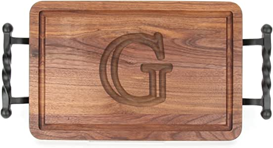 """CHUBBCO W210-STWB-G Thick Cutting Board with Twisted Ball Handle, 10.5-Inch by 16-Inch by 1-Inch, Monogrammed """"G"""", Walnut"""