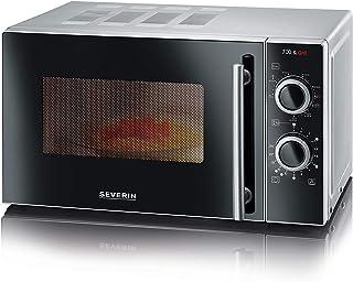 Severin MW 7875 2合1微波炉(700瓦,具有烧烤功能,包括烤架和转盘,24.5厘米)银/黑色