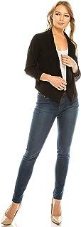 MissMissy 女式前开商务外套 3/4 缩袖尖/直领披肩夹克 黑色 XXX-Large