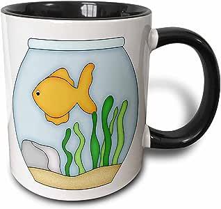 3dRose Anne Marie Baugh - Fish - Cute Yellow Fish In A Fishbowl Illustration - Mugs 黑色/白色 11 oz