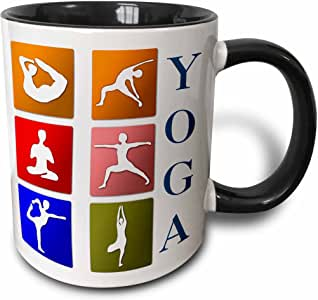 3dRose Anne Marie Baugh - 瑜伽 - Six Yoga Poses With The Word Yoga Design - 马克杯 黑色 11 oz