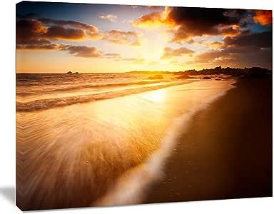 "Design Art Amazing Sunrise Over Australian Beach 当代海景艺术画布/帆布上的海岸艺术墙照片艺术印刷品印刷品 金色 20x12"" PT10705-20-12"