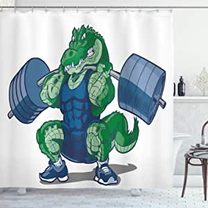 Kids Decor Shower Curtain by Ambesonne, Cartoon African Crocodile Sporty Muscular Manly Alligator Villian Image, Fabric Bathroom Decor Set with Hooks, 84 Inches Extra Long, Jade Green and Blue