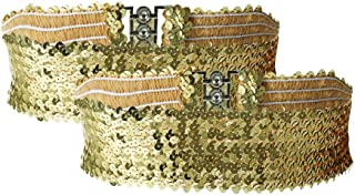 uxcell 女士亮片装饰金属联锁扣弹性腰带