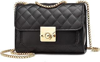 Hanbella PU 皮革斜挎包女士和女孩手提包手提包手提包手提包女士小号单肩包 黑色 4 Small