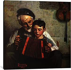 """iCanvasART The Music Lesson Canvas Print by Norman Rockwell, 37"""" x 37""""/0.75"""" Deep"""