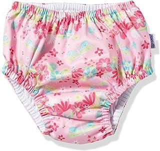 i play. by green sprouts 婴儿上拉式游泳尿布,浅粉色蜻蜓花卉图案,24个月