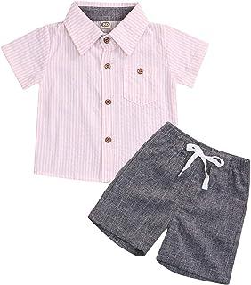幼童男男婴绅士套装火烈鸟短袖系扣上衣衬衫 + 纯色短裤裤子套装 2 件套