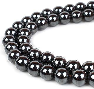 RVG 天然宝石串珠 圆石 岩石 散石 珠光 15.5 英寸(约 39.4 厘米)串 用于珠宝制作多种风格 Hematite 12mm 0747565975823