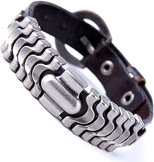 Urban Jewelry 功能强大的深棕色皮革袖口手链金属设计和搭扣扣(可调节)