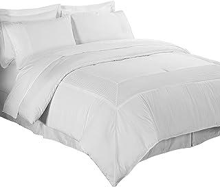 Chezmoi Collection 8 件褶边纯色Bed-in-a-Bag 盖被套装 白色 全部 Mason-Com